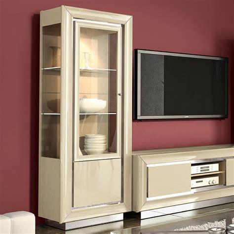 minton ivory high gloss  door glass display cabinet