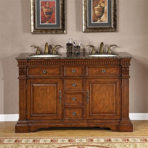 The cabinet boasts a charmingly subtle design with. Silkroad Exclusive 55-inch Double-sink Cabinet Bathroom ...