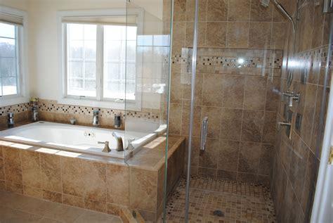 Remodeling bathroom shower with tile bath tub surround