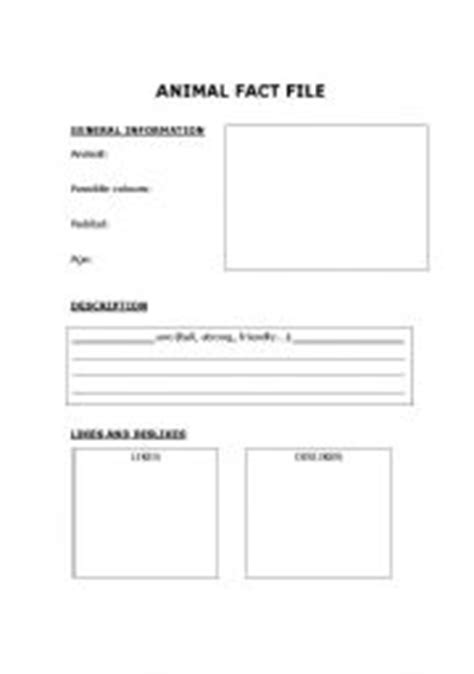 English worksheets: Animal Fact file