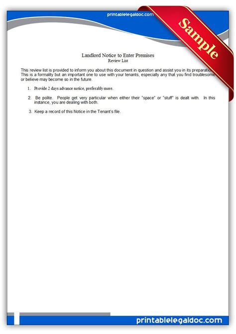 free notice to enter rental property form free printable landlord notice to enter premises legal
