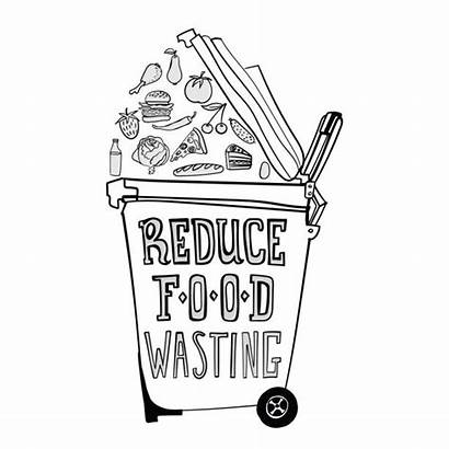 Poster Vector Illustration Wasting Waste Throwing Reduce