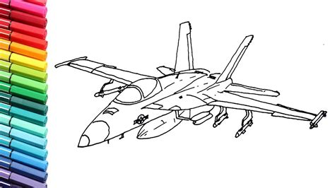 drawing  coloring fighter jet  kids aircraft color