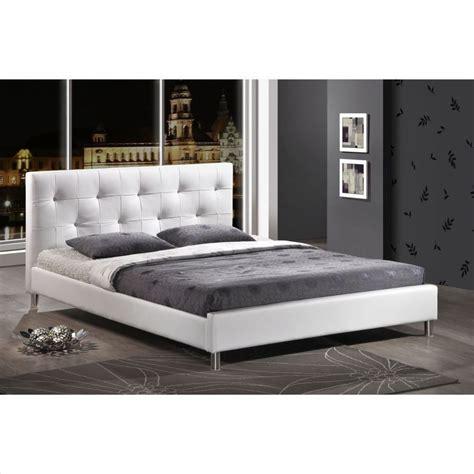 Modern Queen Tufted Faux Leather Platform Bed Frame