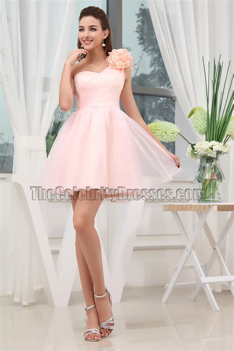 cute pink  shoulder homecoming party sweet  dresses