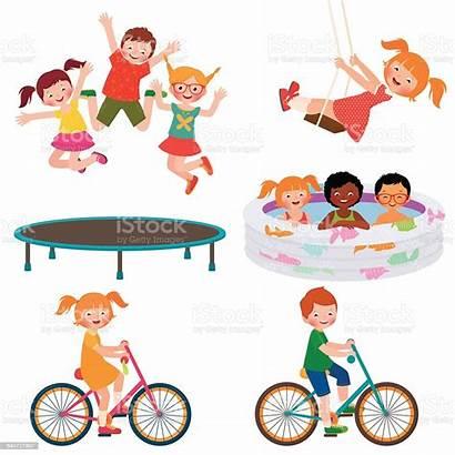 Activities Summer Cartoon Children Vector Illustration Illustrations