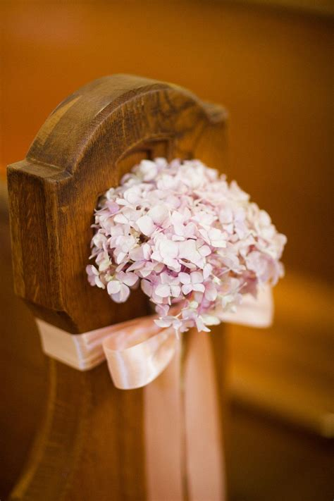 Hydrangea As Church Wedding Aisle Decor Photo By Borrowed
