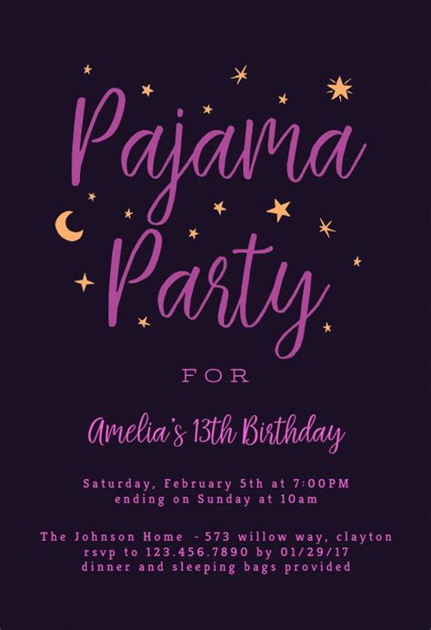 pajama party sleepover party invitation template