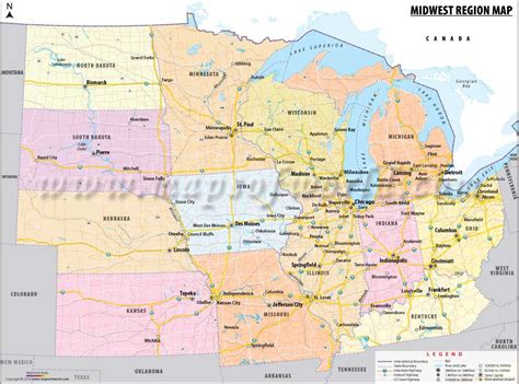 The Midwest Region Map, Map Of Midwestern United States
