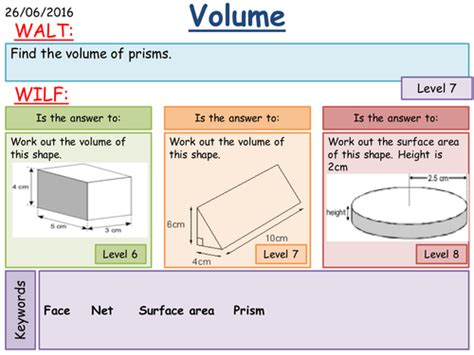 Maths Ks3 Surface Area And Volume Of Prisms By Fintansgirl  Teaching Resources Tes
