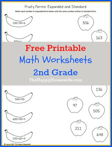 Math Worksheets For 2nd Grade Free Printables  The Happy Housewife™  Home Schooling