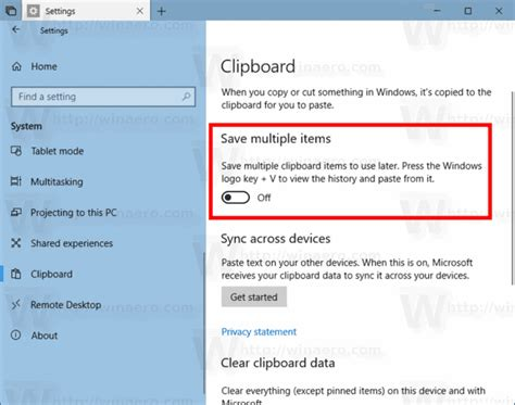 enable or disable clipboard history in windows 10