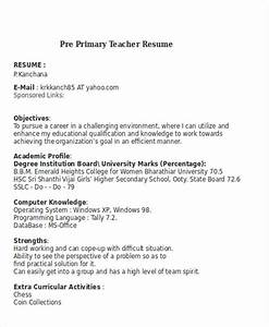 25 teacher resume templates in word free premium With pre primary school teacher resume sample