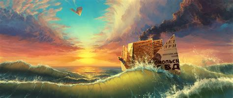 Ultra Wide, Fantasy Art, Waves Wallpapers Hd  Desktop And