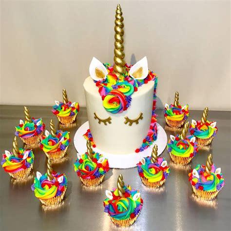 rainbow unicorn cake  cupcakes  atsakurabakingco