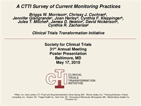 ctti survey  current monitoring practices