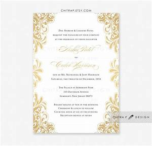 Gold wedding invitation printed white black indian lace for Black and gold wedding shower invitations
