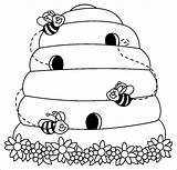 Coloring Bee Beehive Pages Coloringbay sketch template