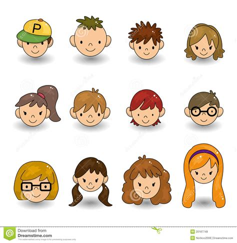 cartoon young people face icon stock vector image