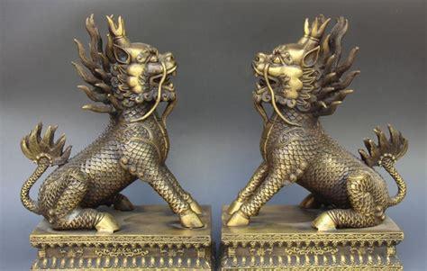 china pure bronze fengshui dragon kylin kirin qilin