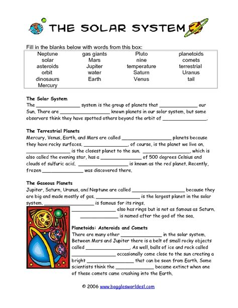 solar system cloze activity worksheet    grade