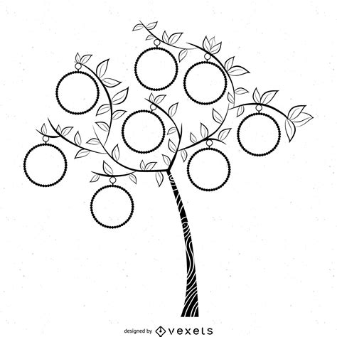 Tree Template Black And White by Simple B W Family Tree Template Free Vector
