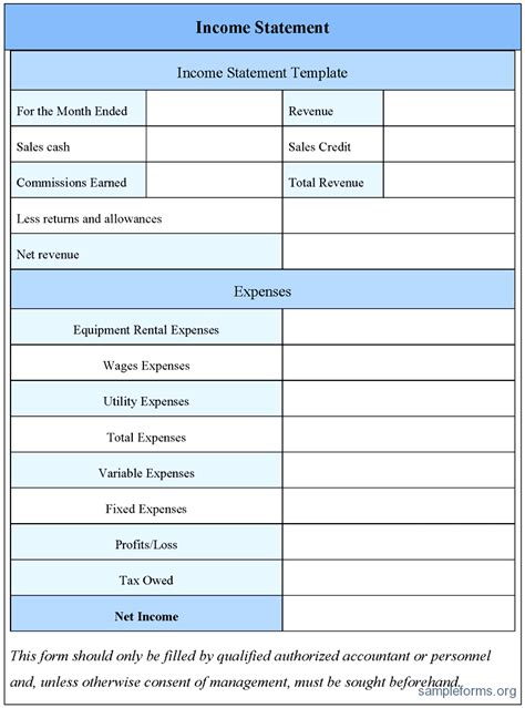 free printable profit and loss statement form printable profit and loss statement form design templates