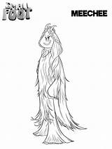 Smallfoot Coloring Pages Meechee Printable Print Cartoon Feet Movie Bigfoot Migo Yeti Scribblefun Sheets Franny Fleem Books Getcoloringpages Parties sketch template
