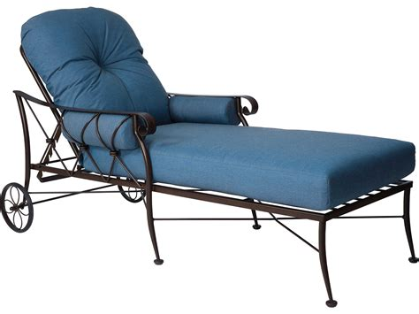 woodard derby wrought iron cushion adjustable chaise