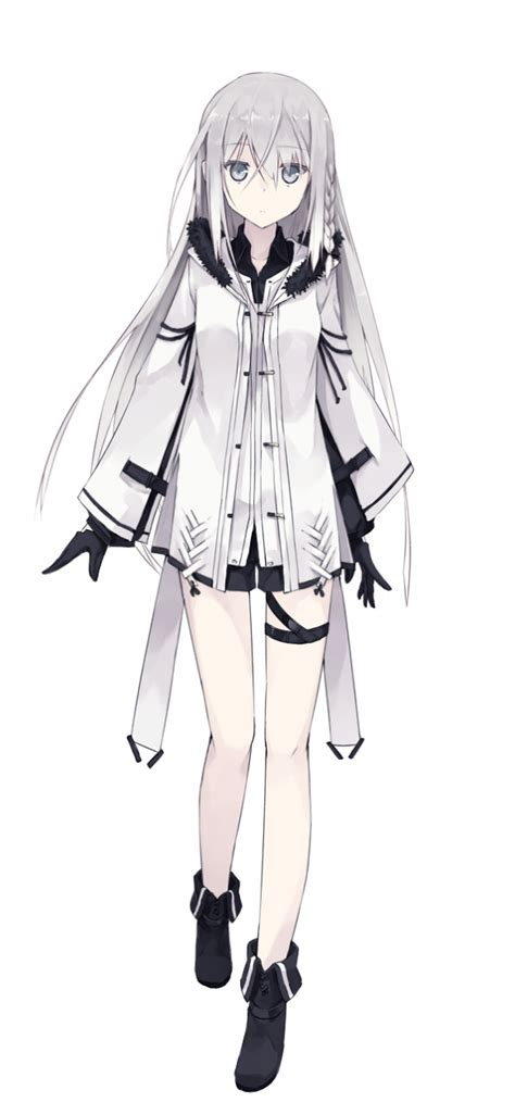 anime girl white hair long hair