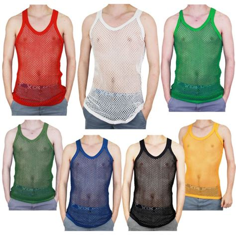 mens  cotton fitted muscle fishnet string vest tank