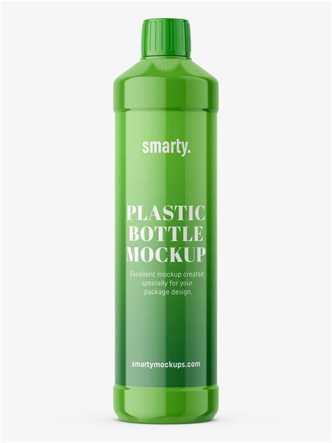 3d bottle mockups and packaging renders. Plastic glossy bottle mockup - Smarty Mockups