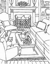 Coloring Living Interior Drawing Adults Perspective Adult Rooms Colouring Line Drawings Point Sketch Printable Bedroom Getdrawings Colour Ausmalen Getcolorings Sketchite sketch template