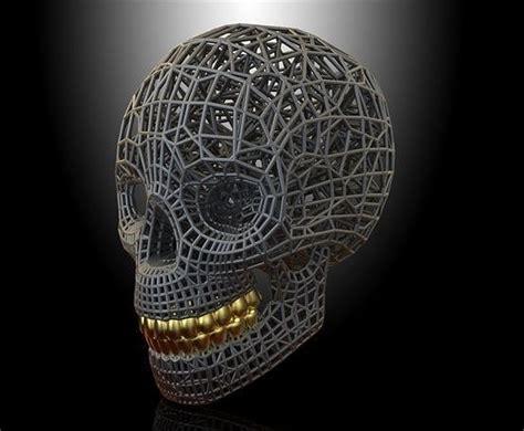 skull voronoi  printable model cgtrader