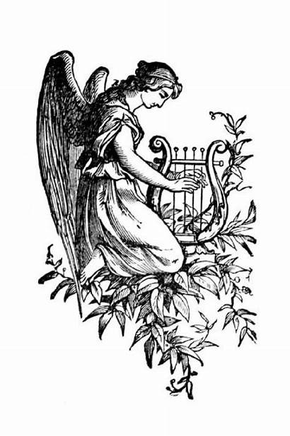 Harp Clipart Angel Angels Praying Cliparts Outlines