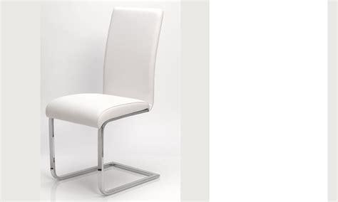 chaise blanche salle a manger chaise salle a manger blanche en pu et acier design etna lot de 2