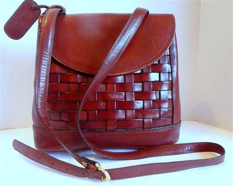 etienne aigner vintage brown woven leather shoulder