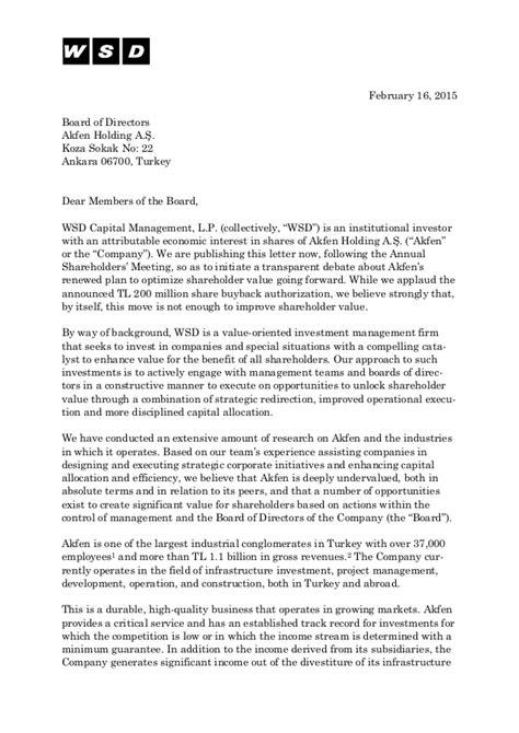 letter   board  directors  akfen holding