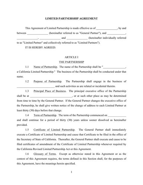 limited partnership agreement long forms   word