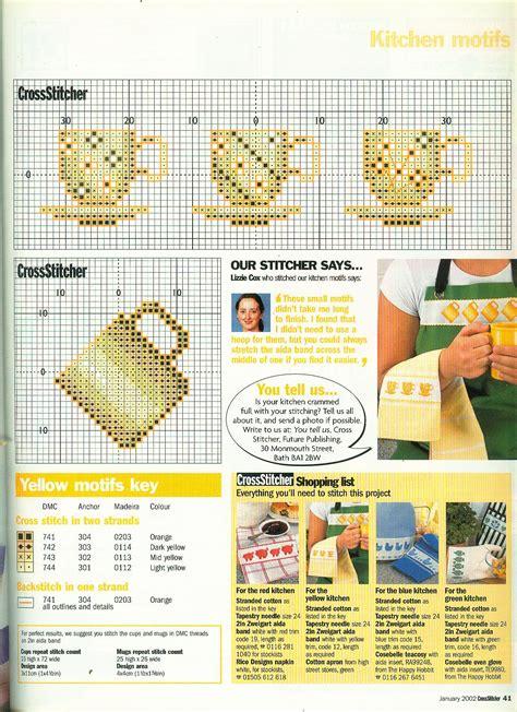 grille de cuisine grille de point de croix tasses et tasses à café de