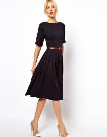 asos asos midi dress with full skirt and belt at asos