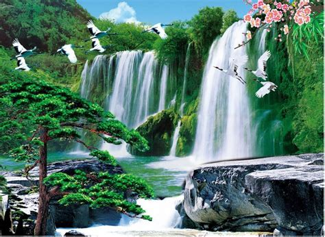 3d Wallpaper Waterfall by Waterfall 3d Wallpaper Landscape Custom Photo Wallpaper