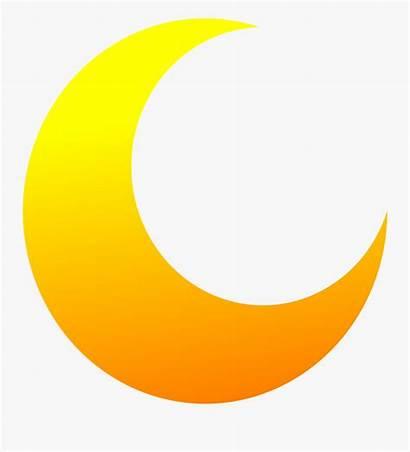 Moon Clip Clipart Half Yellow Circle Semi
