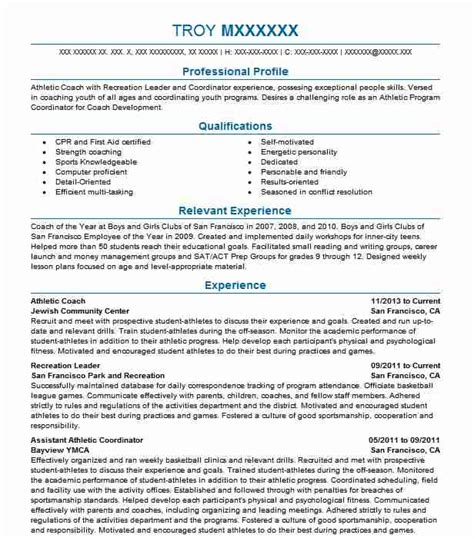 Career Coach Resume by Athletic Coach Resume Sle Resumes Misc Livecareer