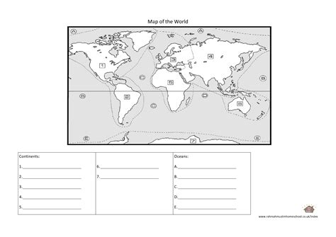 oceans and continents for worksheets