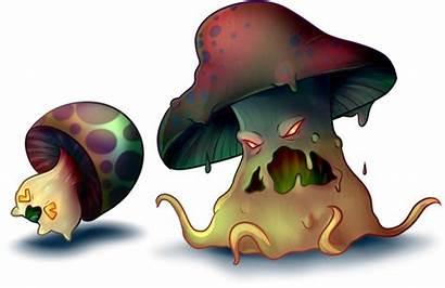 Cartoon Evil Clipart Mushrooms Mushroom Transparent Webstockreview