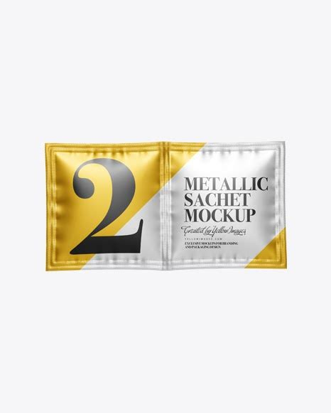 4200 x 5200 px artwork resolution. Double Matte Metallic Sachet PSD Mockup Front View