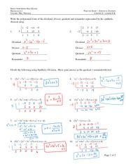 synthetic and division of polynomials worksheet