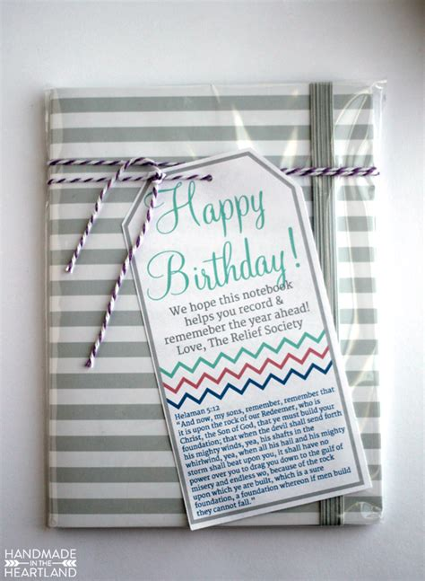 relief society birthday gift with printable handmade in