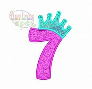 Princess Crown Seventh 7th Birthday Number 7 - 4x4 5x7 ...